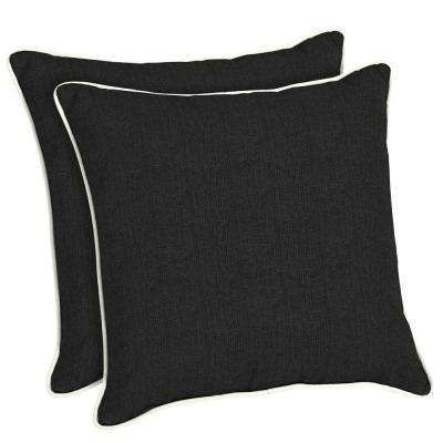 Sunbrella Canvas Black Square Outdoor Throw Pillow (2-Pack)