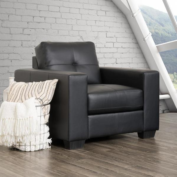 CorLiving Club Tufted Black Bonded Leather Chair LZY-101-C