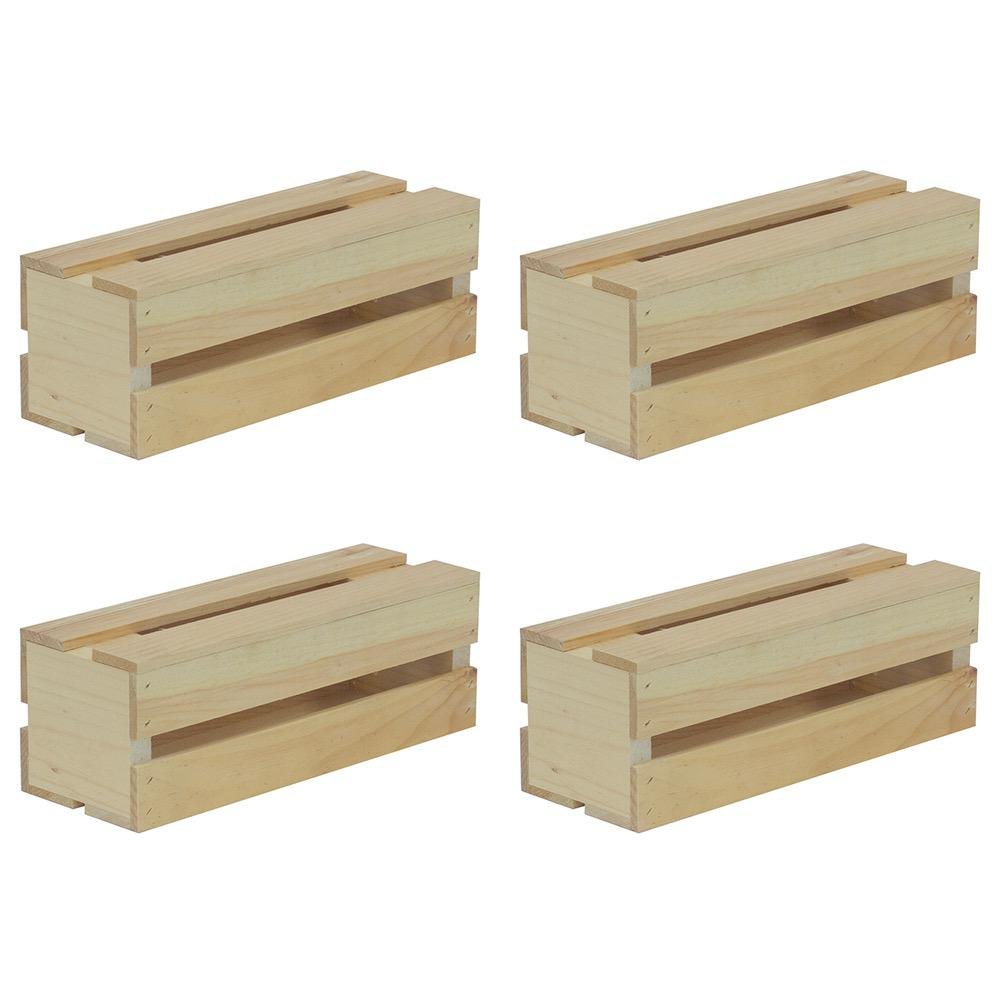 Crates & Pallet 13.5 in. x 4.5 in. x 4.75 in. Wine Wood Crate (4-Pack)