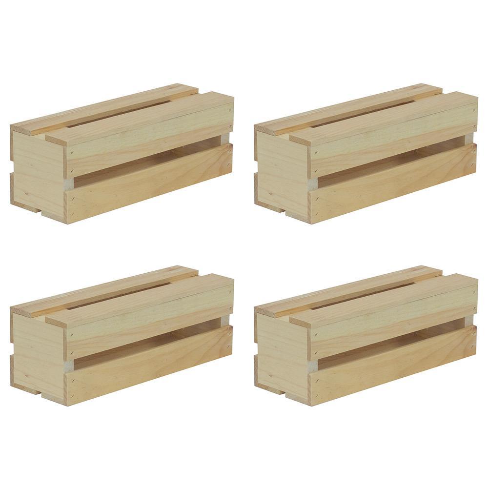 13.5 in. x 4.5 in. x 4.75 in. Wine Wood Crate (4-Pack)