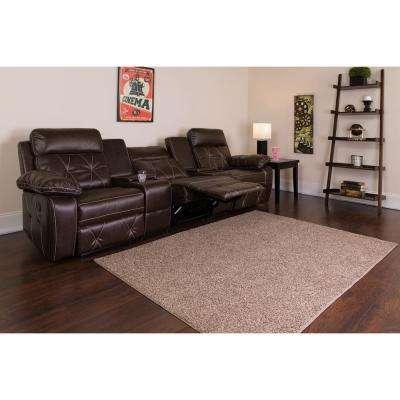 Reel Comfort Series 3-Seat Reclining Brown Leather Theater Seating Unit with Straight Cup Holders