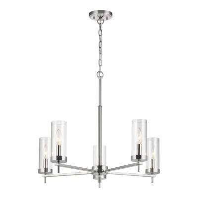 Zire 5-Light Chrome Chandelier with Clear Glass Shades with Dimmable Candelabra LED Bulb