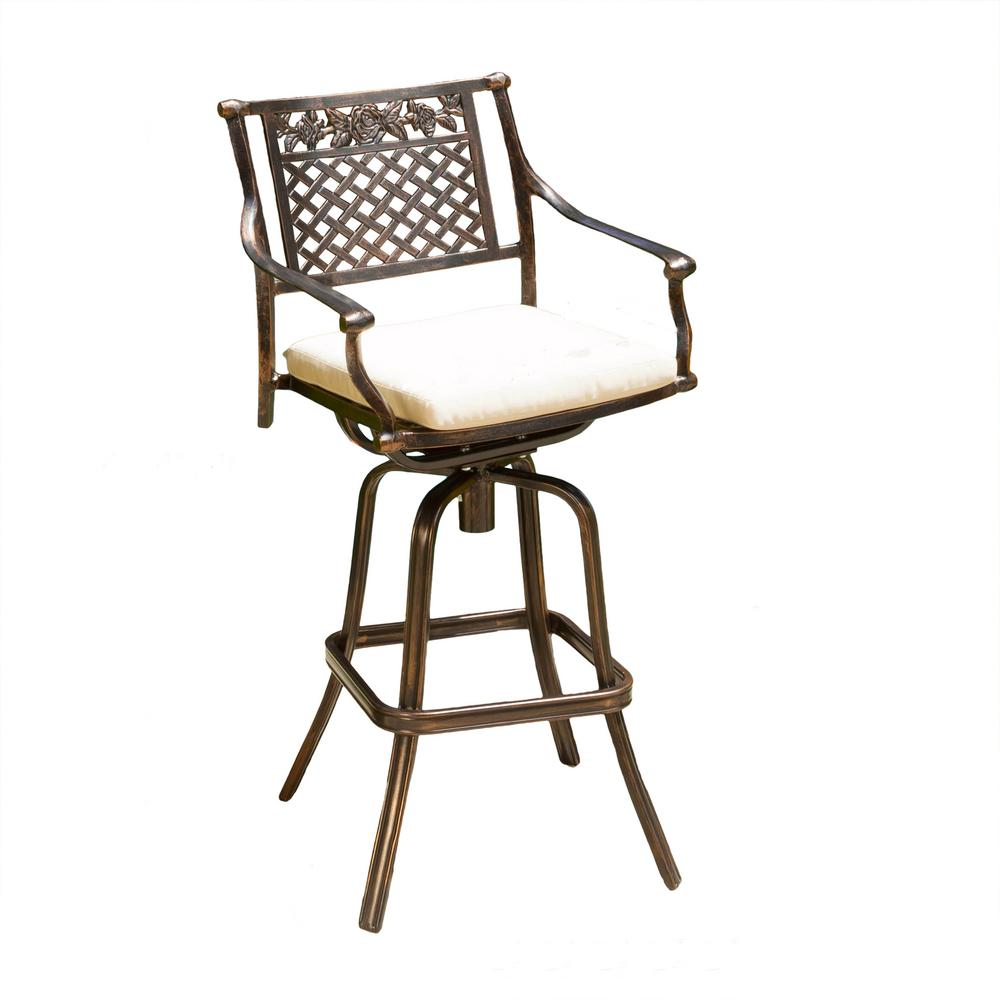noble house sebastian swivel aluminum outdoor bar stool with beige cushion 295050 the home depot. Black Bedroom Furniture Sets. Home Design Ideas