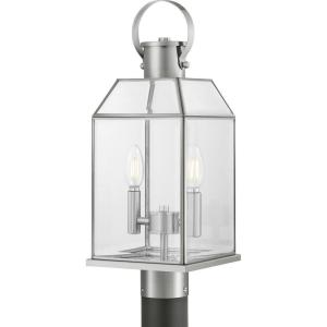 Canton Heights 2-Light Stainless Steel Outdoor Post Lantern with Clear Beveled Glass