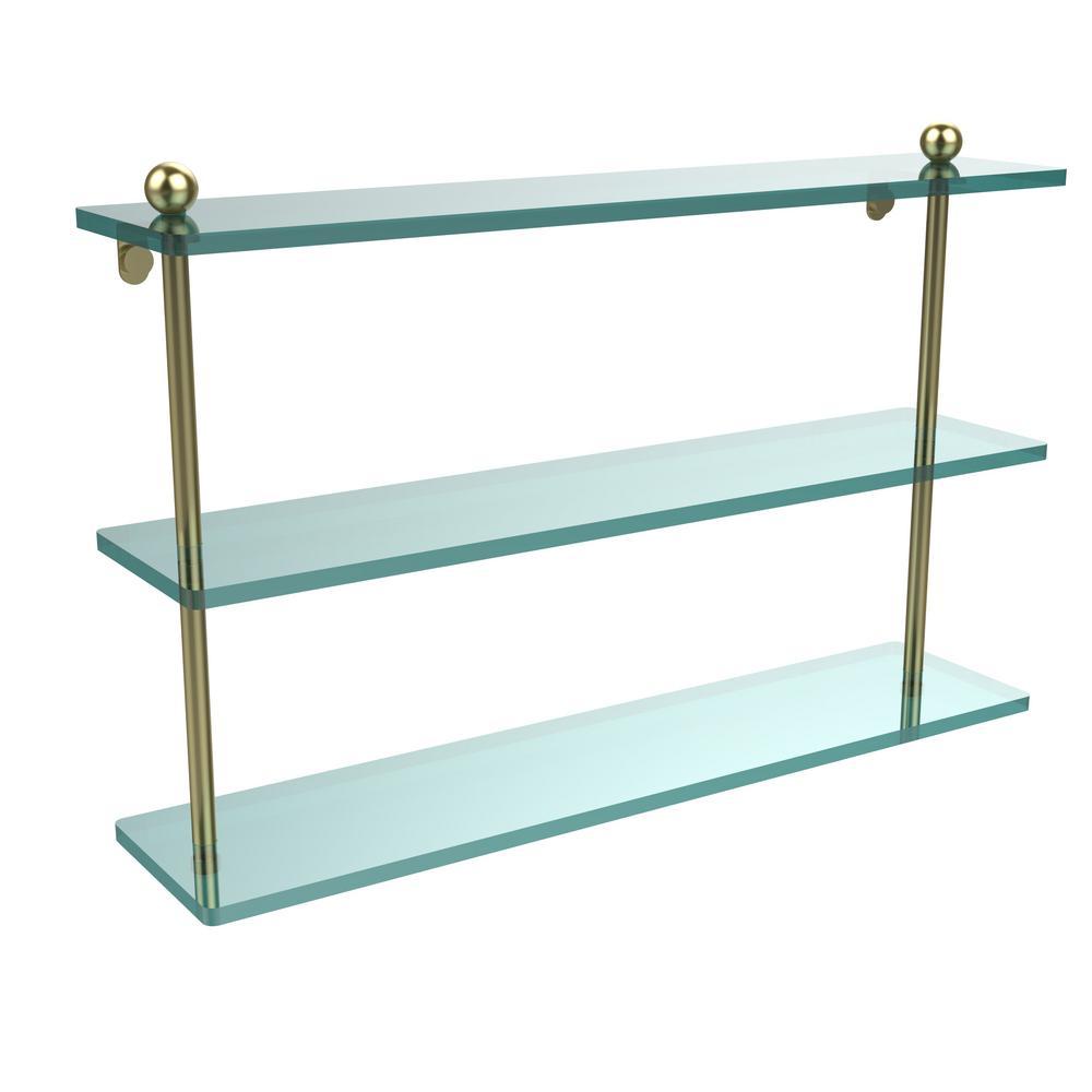 Allied Brass 22 in. L  x 15 in. H  x 5 in. W 3-Tier Clear Glass Bathroom Shelf in Satin Brass