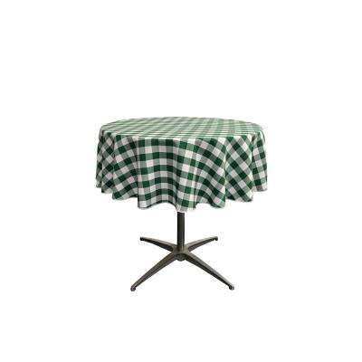 """58 in. White and Hunter Green Polyester Gingham Checkered Round Tablecloth"""