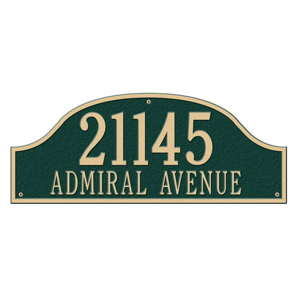 Whitehall Products Admiral Estate Arch Green/Gold Wall Two Line Address Plaque