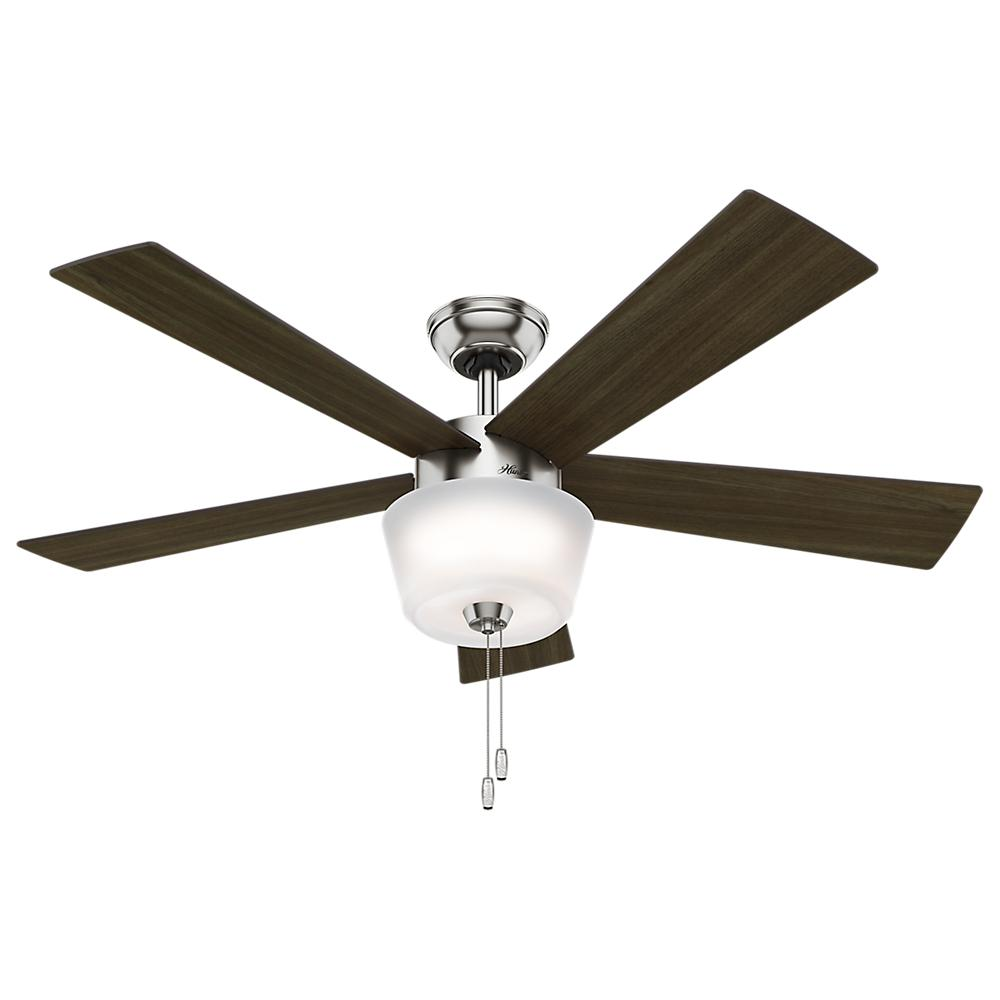 Hembree 52 in. Indoor Brushed Nickel Ceiling Fan with Light Kit