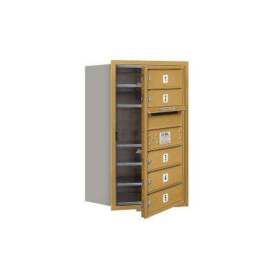 3700 Series 27 in. 7 Door High Unit Gold Private Front Loading 4C Horizontal Mailbox with 5 MB1 Doors