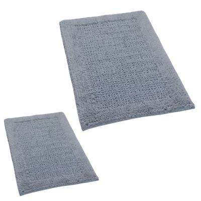 Silver 20 in. x 30 in. and 21 in. x 34 in. Naples Bath Rug Set (2-Piece)