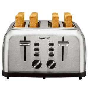 1500w 4-slice stainless steel long slot toaster