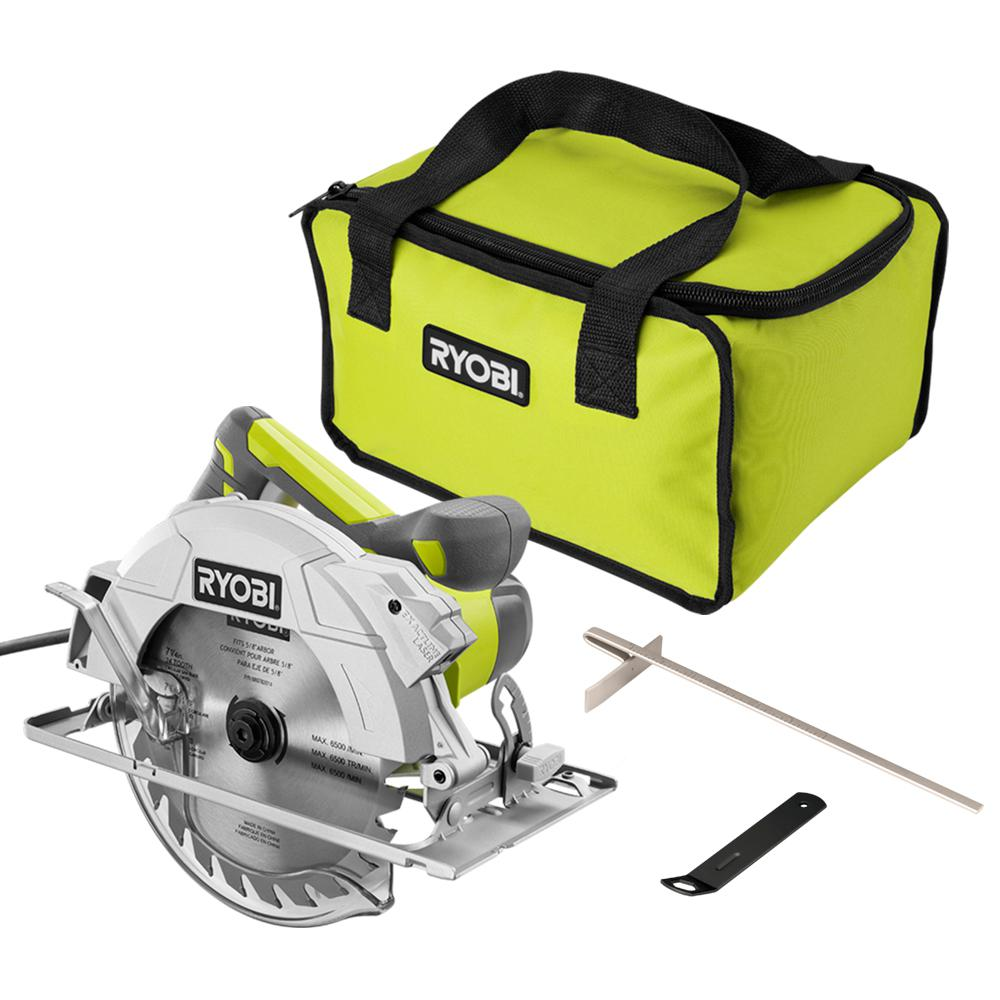 RYOBI 15 Amp Corded 7-1/4 in. Circular Saw with EXACTLINE Laser Alignment System, 24T Carbide Tipped Blade, Edge Guide and Bag