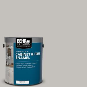 Behr Premium 1 Gal Ppu18 10 Natural Gray Satin Enamel Interior Cabinet And Trim Paint 752001 The Home Depot