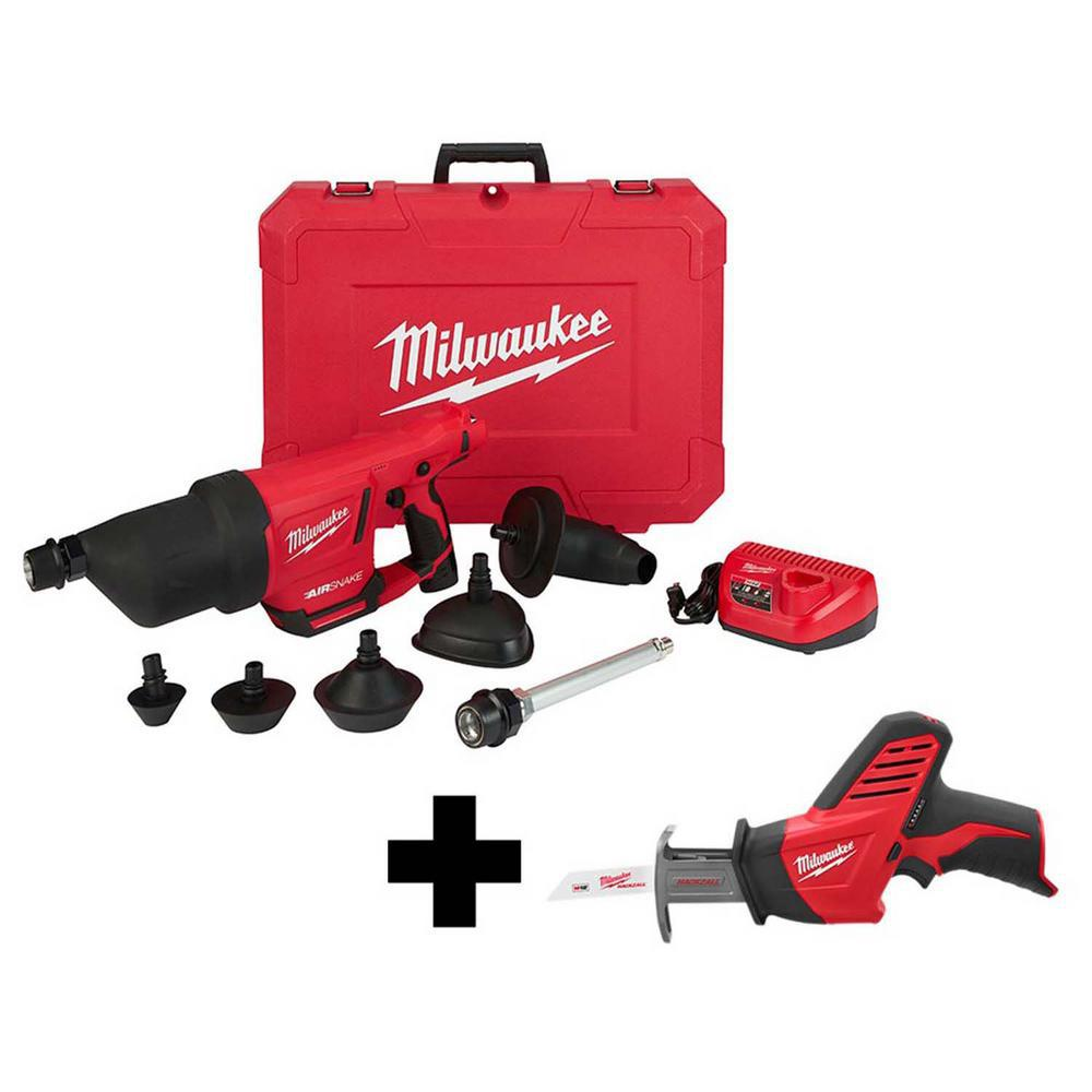 Milwaukee M12 12-Volt Lithium-Ion Cordless Drain Cleaning Airsnake Air Gun Kit with Free M12 HACKZALL Reciprocating Saw was $476.03 now $314.1 (34.0% off)