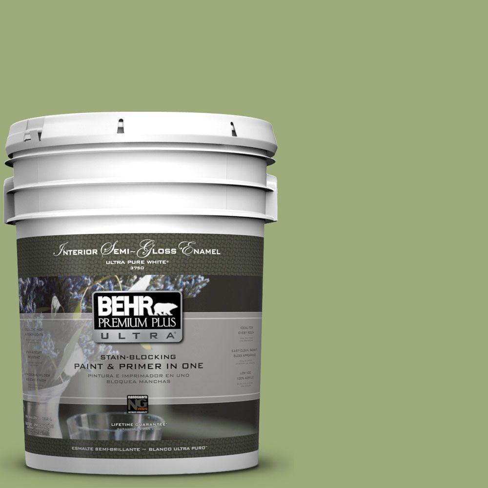5-gal. #BIC-12 Siamese Green Semi-Gloss Enamel Interior Paint