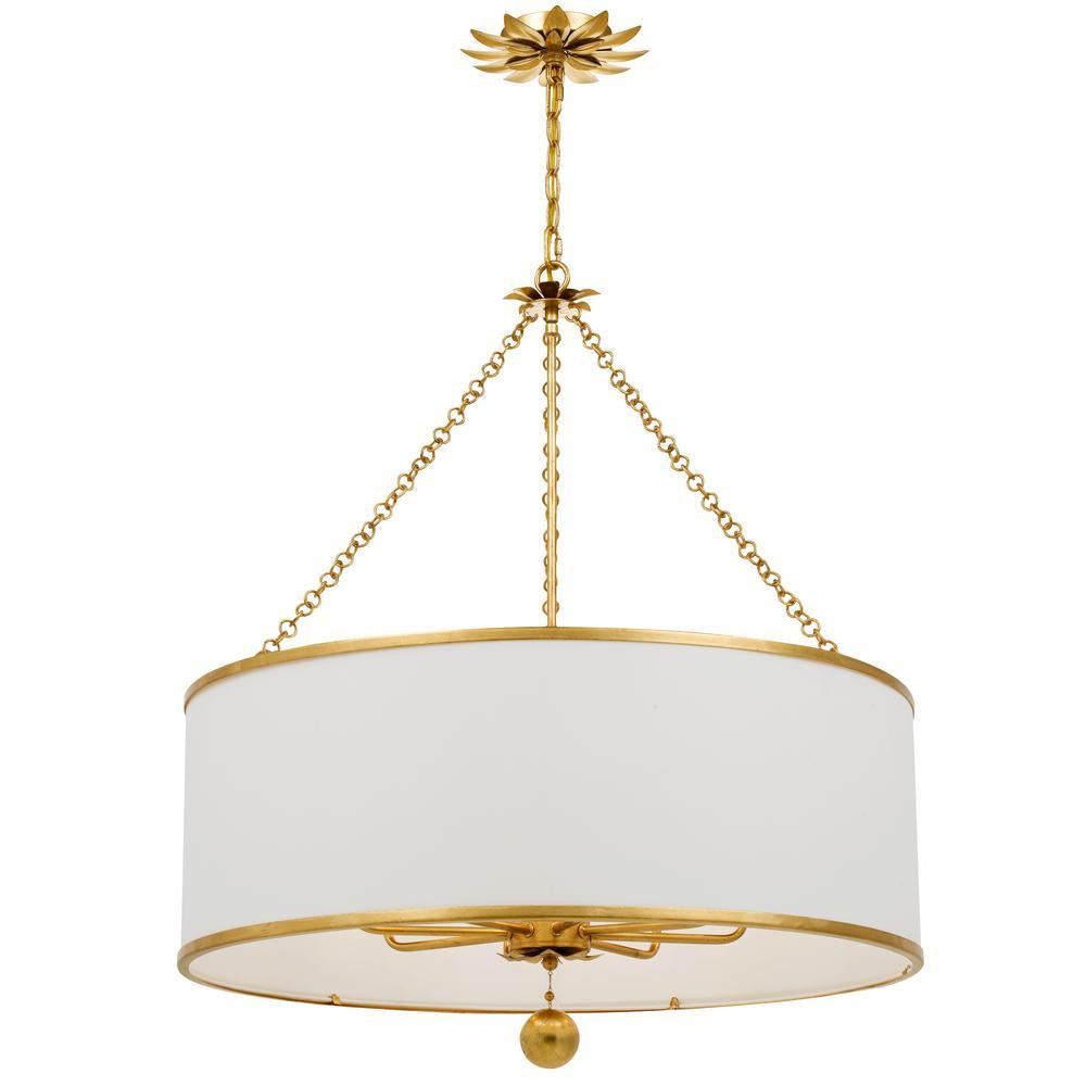Broche 8-Light Antique Gold Chandelier