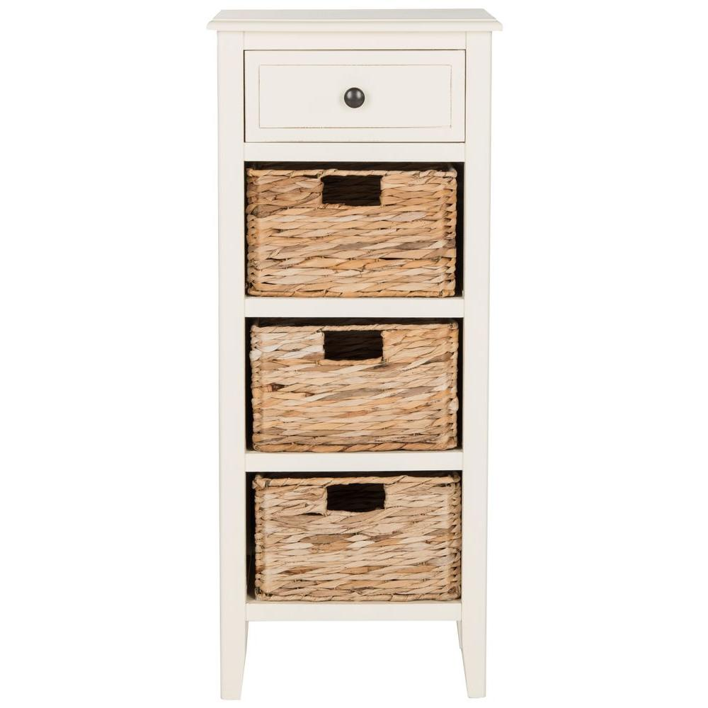 Safavieh Michaela Distressed White Storage Side Table