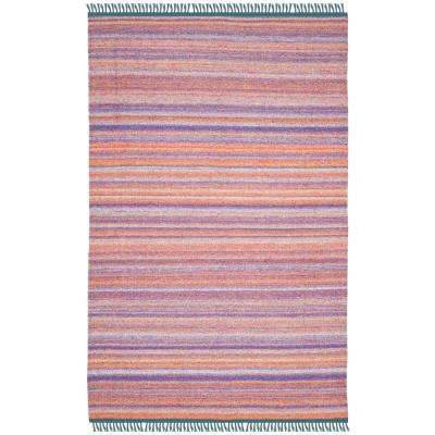 Kilim Purple/Rust 4 ft. x 6 ft. Area Rug