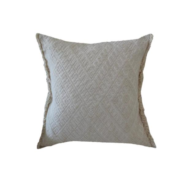 A1HC Off-White Embroidered Geometric 22 in. Cotton Throw Pillow A1SP085
