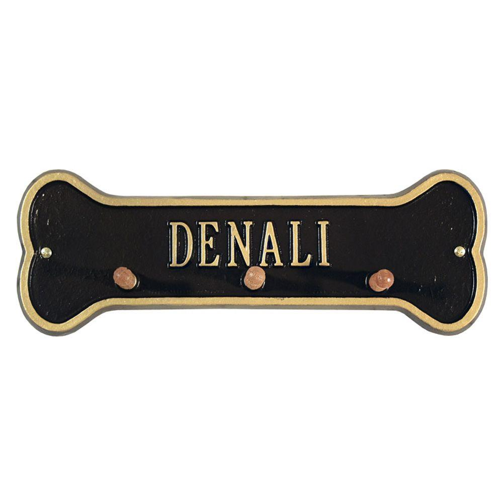 Whitehall Products Black/Gold One Line Wall Bone Leash Holder
