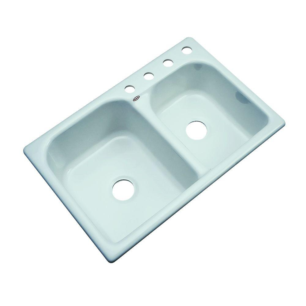 Thermocast Cambridge Drop-In Acrylic 33 in. 4-Hole Double Basin Kitchen Sink in Seafoam Green