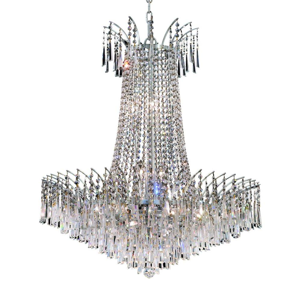 Elegant Lighting 16-Light Chrome Chandelier with Clear Crystal