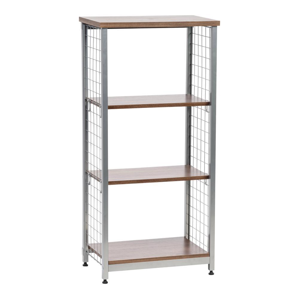 Brown 3-Tier Open Mesh Wood-Top Shelf
