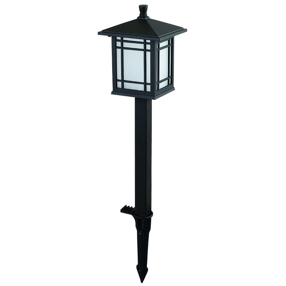 Hampton bay low voltage bronze outdoor integrated led for Low power outdoor lights