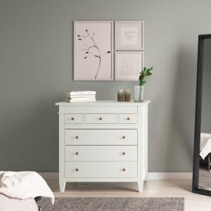 Simpli Home Carlton 6-Drawers White Solid Wood 36 in. Wide ...