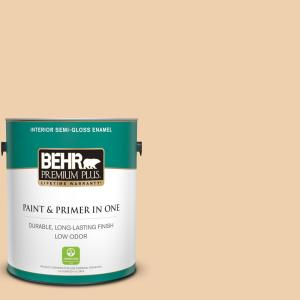 Behr Premium Plus 1 Gal Mq3 43 Ceramic Beige Semi Gloss Enamel Low Odor Interior Paint And Primer In One 340001 The Home Depot