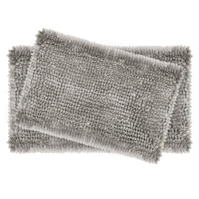 Butter Chenille 20 in. x 34 in. and 17 in. x 24 in. 2-Piece Bath Mat Set in Light Gray