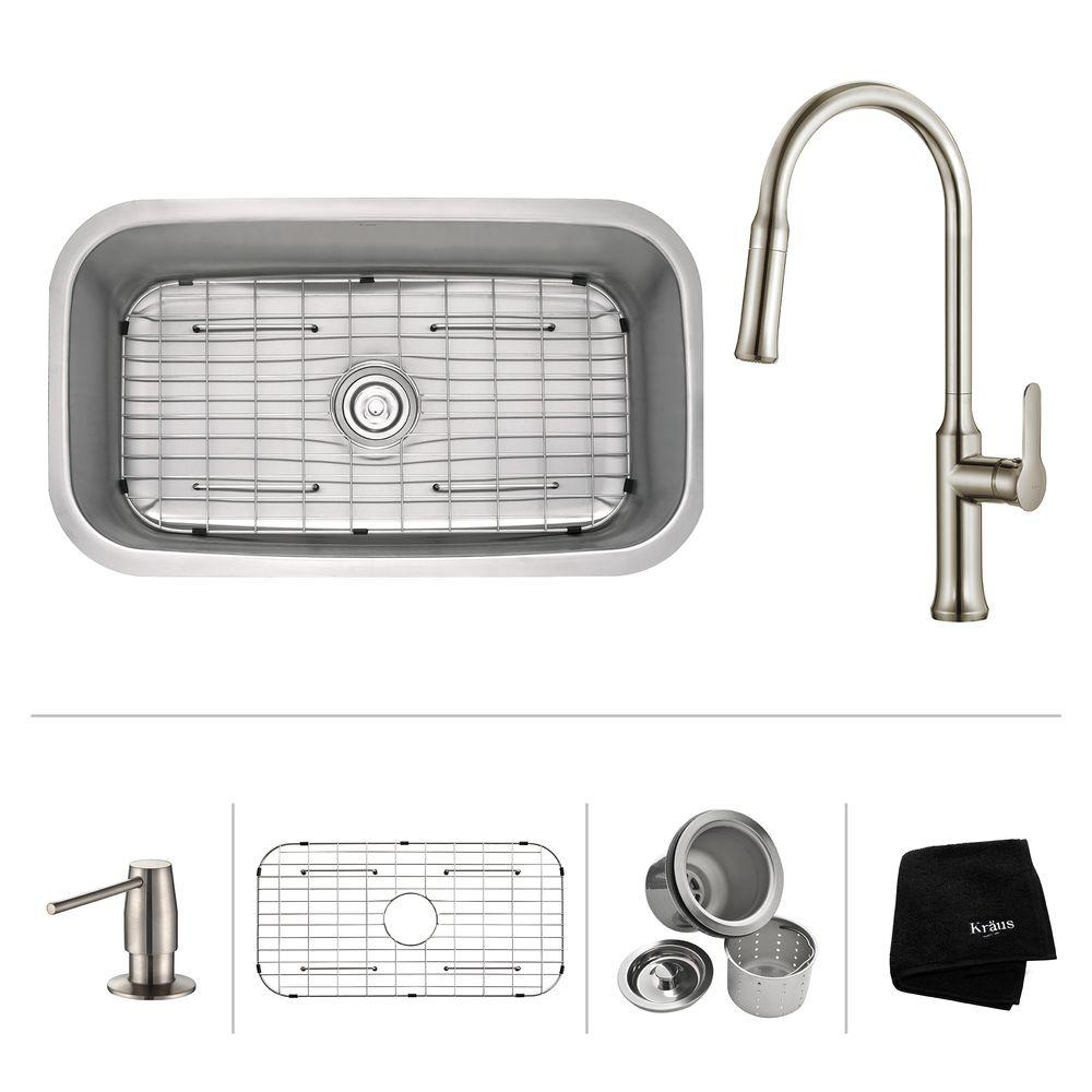 KRAUS All In One Undermount Stainless Steel 32 In. Single Bowl Kitchen Sink  With Faucet And Accessories In Stainless Steel KBU14 1630 42SS   The Home  Depot