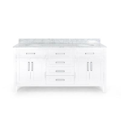 Greysen 72 in. W x 22 in. D Bath Vanity with Carrara Marble Vanity Top in White with White Basin