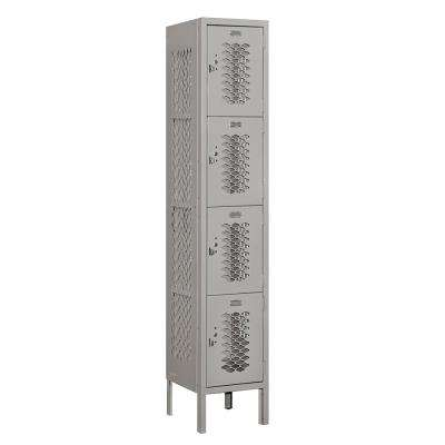 74000 Series 4-Tier 12 in. W x 66 in. H x 12 in. D Vented Metal Locker Ready to Assemble in Gray