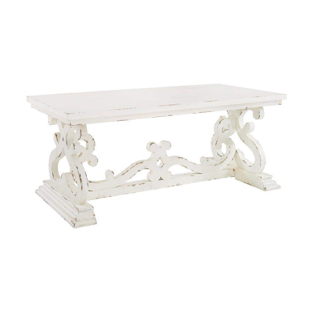 Powell Company Lucas 47 In Distressed White Large Rectangle Wood Coffee Table With Pedestal Base Hd1410a19 The Home Depot