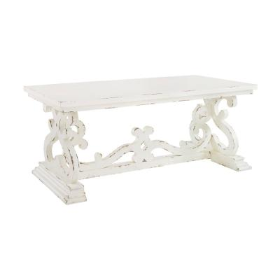 Lucas 47 in. Distressed White Large Rectangle Wood Coffee Table with Pedestal Base