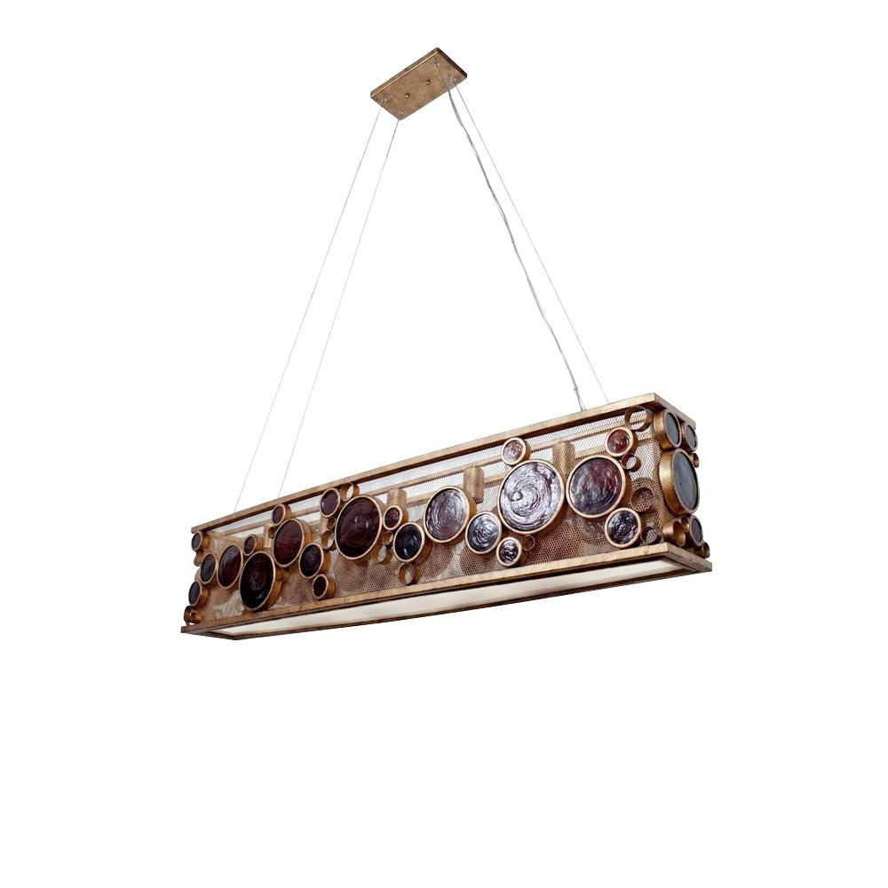 Varaluz Fascination 5-Light Kolorado Ore Linear Pendant with Amber Glass