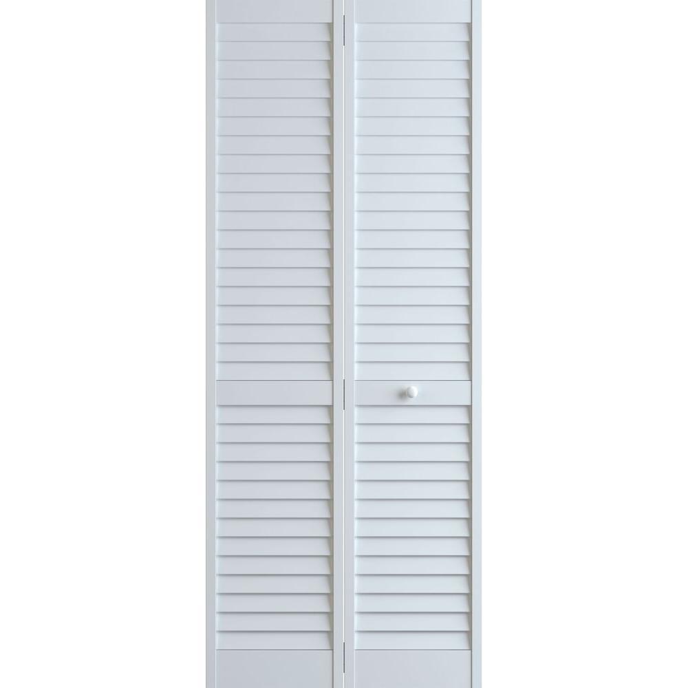 Frameport 24 in. x 80 in. Louver Pine White Plantation Interior Closet Bi-fold Door