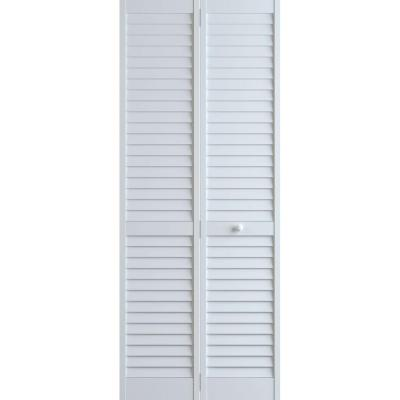 24 in. x 80 in. Louver Pine White Plantation Interior Closet Bi-fold Door