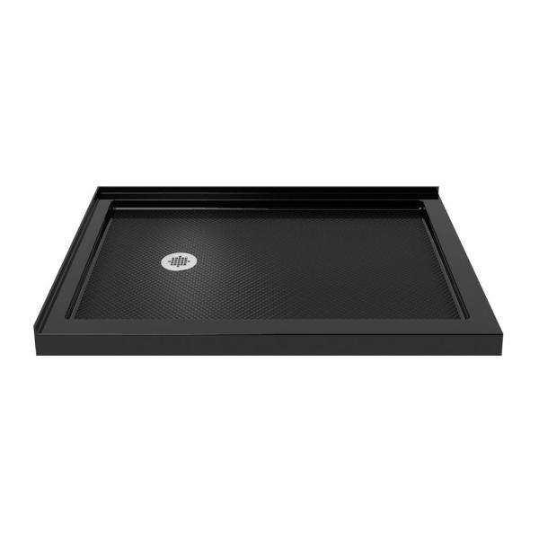 SlimLine 36 in. D x 54 in. W Double Threshold Shower Base in Black, Left Drain