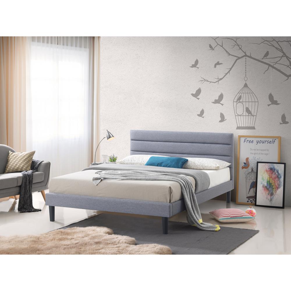 Brisbane Gray Fabric King-Size Upholstered Panel Platform Bed