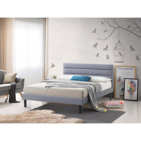 LuXeo Brisbane Gray Fabric King-Size Upholstered Panel Platform Bed LUE-K8134-GRY