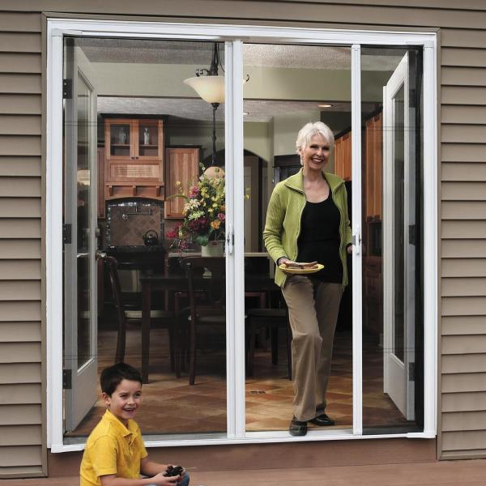 Brisa White Retractable Screen Door 80 Single