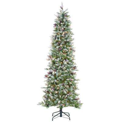 7 ft. Indoor Pre-Lit Dunhill Fir Pencil Slim Artificial Christmas Tree