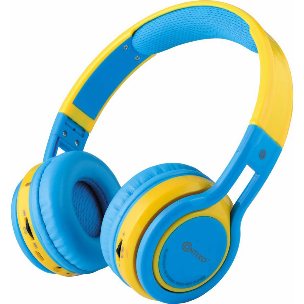Contixo Kb2600 Kid Safe 85db Foldable Wireless Bluetooth Headphone Built In Microphone Micro Sd Music Player Blue W Yellow Kb 2600 Blue Yellow The Home Depot