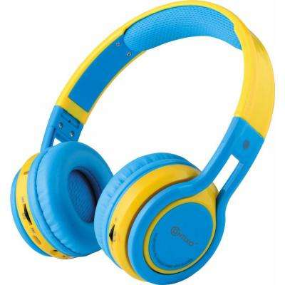 Kid-safe Volume-Limiting (MAX 85 dB) Bluetooth Wireless Over-the-Ear Folding Headphones in Blue and Yellow