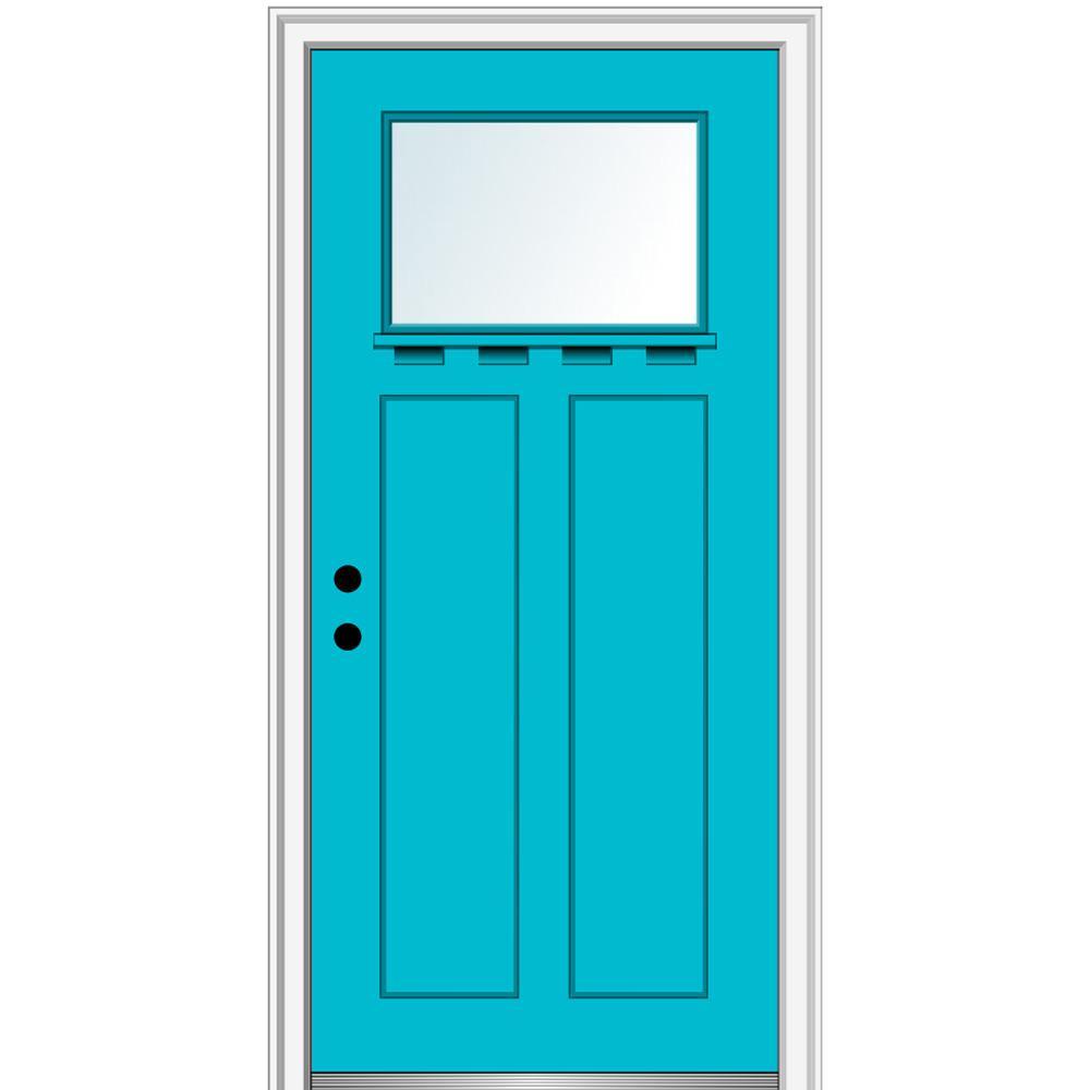 MMI Door 32 in. x 80 in. Right-Hand Inswing 1-Lite Clear 2-Panel Shaker Painted Fiberglass Smooth Prehung Front Door with Shelf