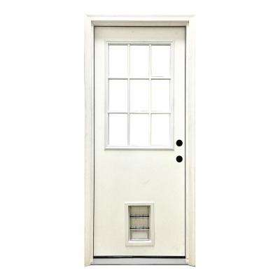 32 in. x 80 in. Classic Clear 9 Lite LHIS White Primed Fiberglass Prehung Front Door with Med Pet Door