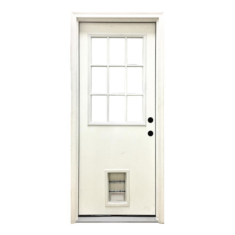 36 in. x 80 in. Classic 9 Lite LHIS White Primed Textured Fiberglass Prehung Front Door with Med Pet Door