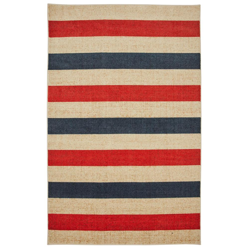 Mohawk Home Sailor Stripe Navy 5 Ft X 8 Indoor Area Rug